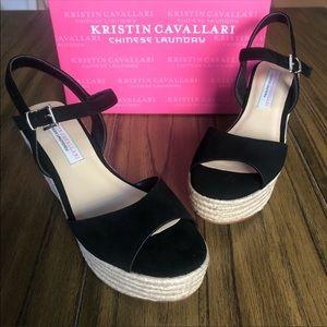 Kristin Cavallari black suede espadrille sandals